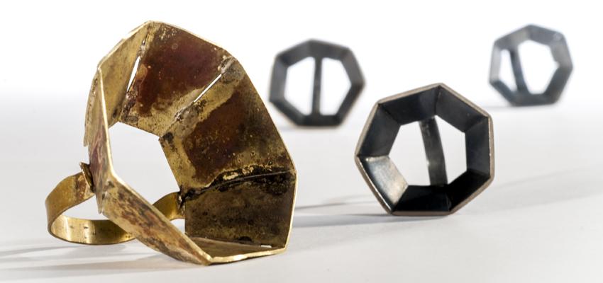 ringar, mässing, oxiderat silver